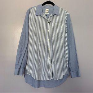 Gap Blue White Stripe Hi-Low Hem Button Down Shirt